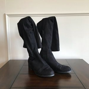Black faux suede over-the-knee boots, size 9